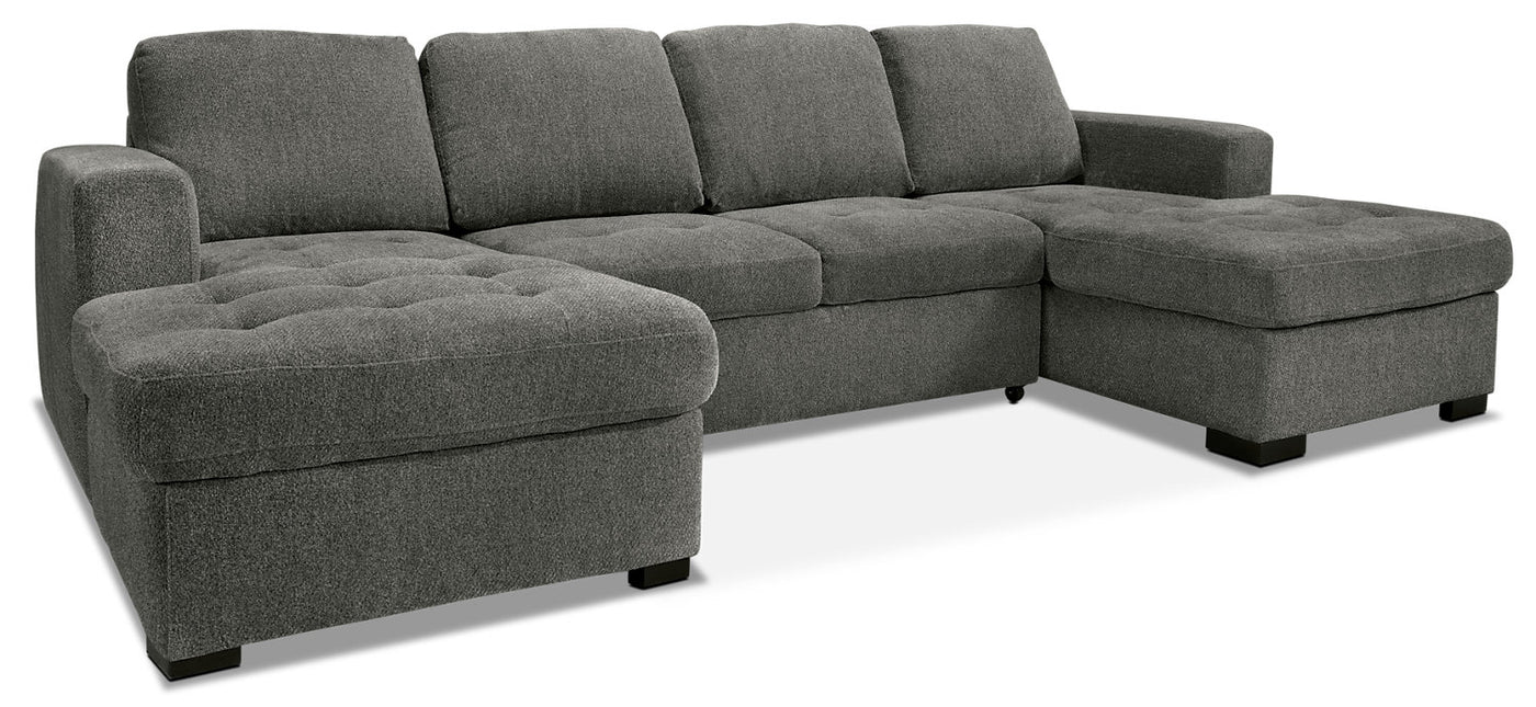 - Izzy 3-Piece Chenille Sofa Bed Sectional With Two Chaises – Pewter