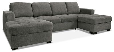 Izzy 3-Piece Chenille Sofa Bed Sectional with Two Chaises – Pewter