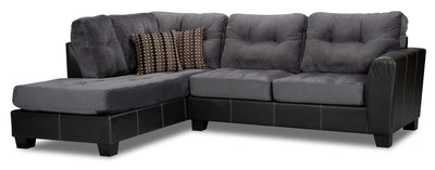 Jacey 2-Piece Chenille Left-Facing Two-Tone Sectional - Smoke