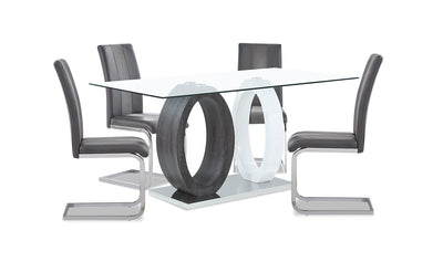 Jaye 5-Piece Dining Package - {Modern} style Dining Room Set in White and Grey {Medium Density Fibreboard (MDF)}, {Metal}