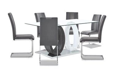 Jaye 7-Piece Dining Package - {Modern} style Dining Room Set in White and Grey {Medium Density Fibreboard (MDF)}, {Metal}