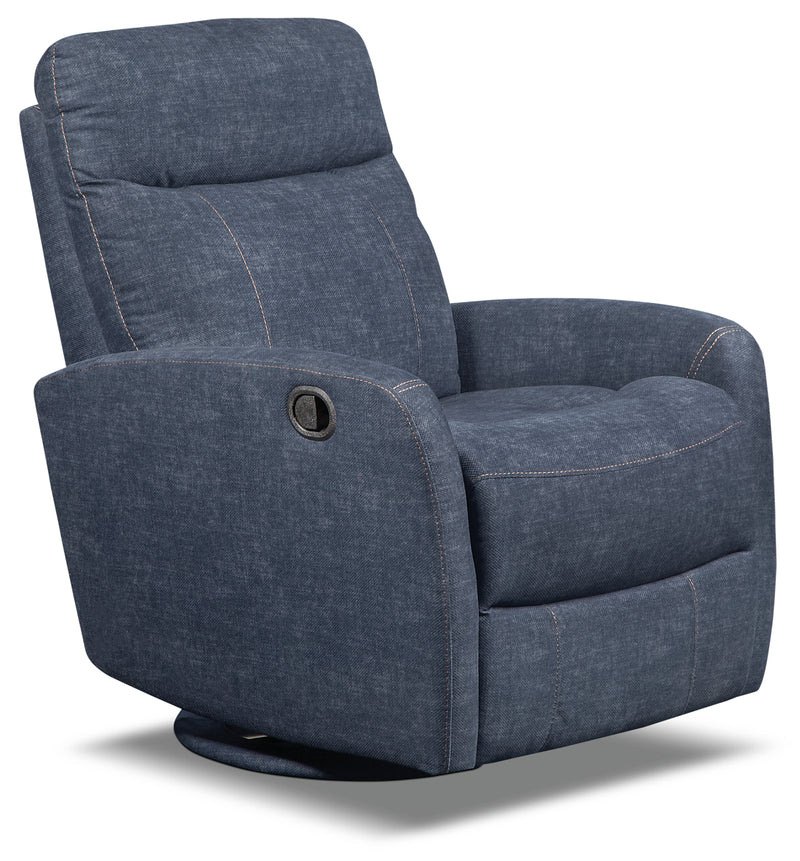 Jeff Velvet Swivel Glider Recliner – Indigo|Fauteuil pivotant, coulissant et inclinable Jeffrey en velours - indigo
