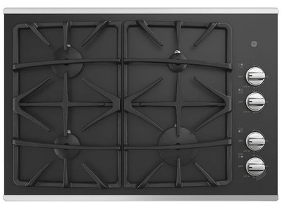 "GE 30"" Built-In Gas On Glass Deep-Recessed Stainless Steel Cooktop – JGP5530SLSS