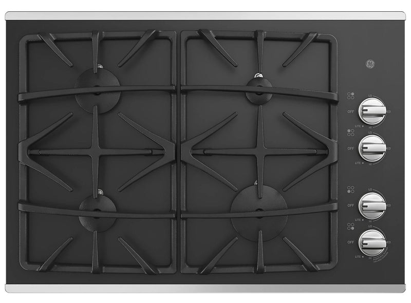 "GE 30"" Built-In Gas On Glass Deep-Recessed Stainless Steel Cooktop – JGP5530SLSS"