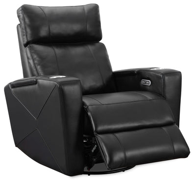 Jovan Leather-Look Fabric Power Recliner with Power Headrest - Black