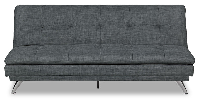 June Linen-Look Fabric Futon - Grey - {Modern}, {Retro} style Futon in Grey {Solid Woods}