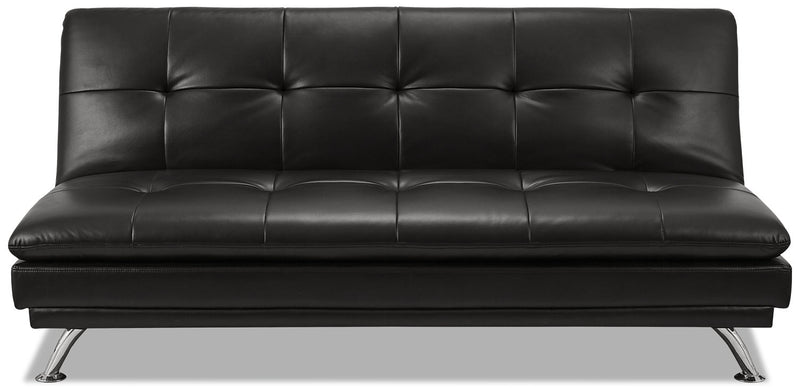 June Leather-Look Fabric Futon - Black|Futon June en tissu d'apparence cuir - noir