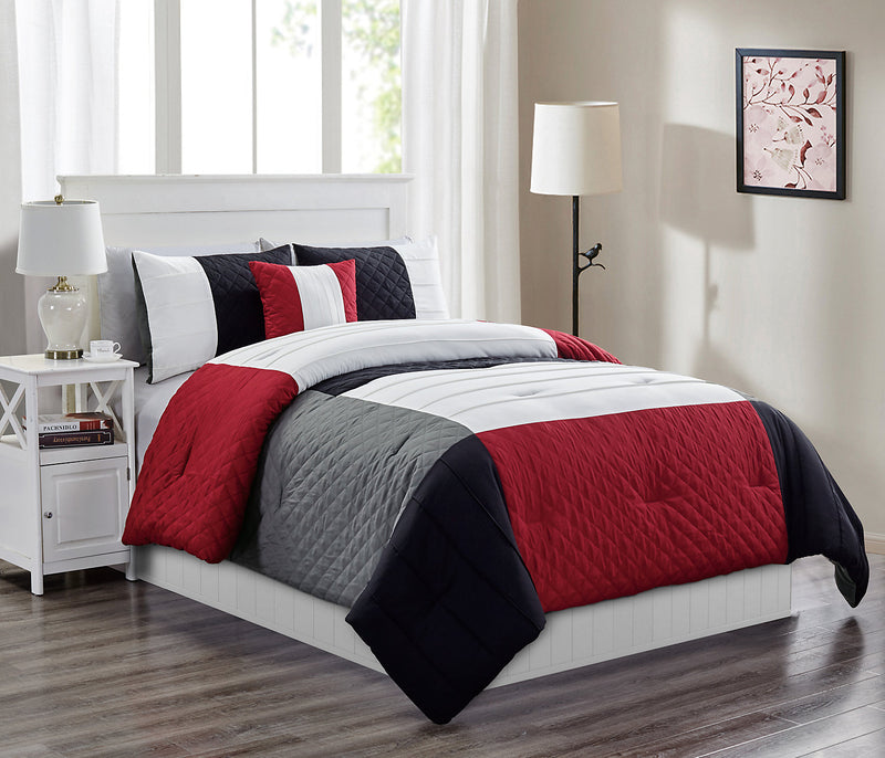 Kaden Red And Grey 4 Piece Queen Comforter Set Ensemble D
