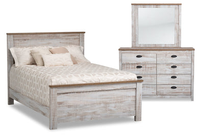 Kaia Full 5-Piece Bedroom Package - {Country} style Bedroom Package in Whitewash {Engineered Wood}
