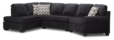 Karsen 3-Piece Chenille Left-Facing Cuddler Sectional - Grey