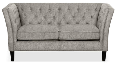 Kayln Chenille Loveseat – Charcoal - Modern style Loveseat in Charcoal