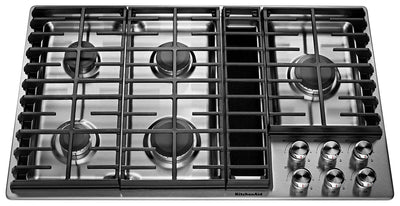 "KitchenAid 36"" Five-Burner Gas Cooktop - KCGD506GSS