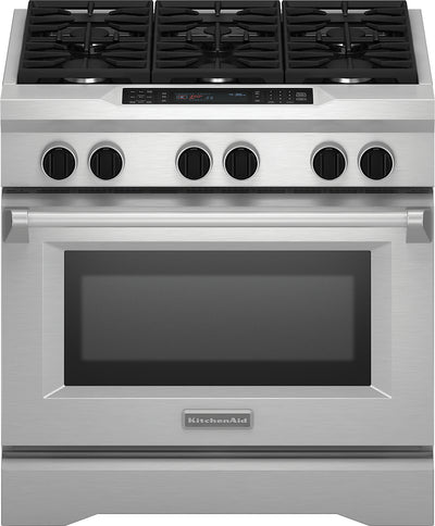 "KitchenAid 36"" Dual Fuel Slide-In Range - Stainless Steel