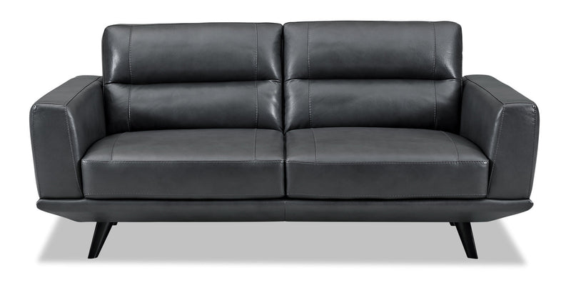 Kendra Genuine Leather Loveseat - Charcoal|Causeuse Kendra en cuir véritable - anthracite
