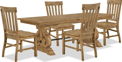 Keswick 5-Piece Dining Package - Traditional style Dining Room Set in Weathered Barley Pine