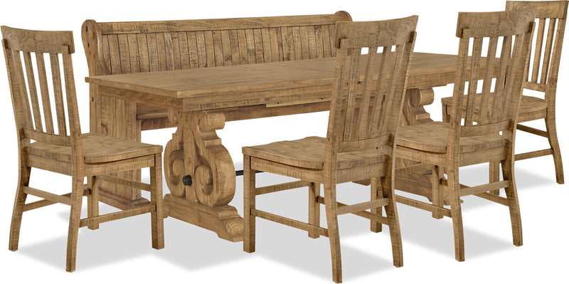 Keswick 6-Piece Dining Package - Traditional style Dining Room Set in Weathered Barley Pine