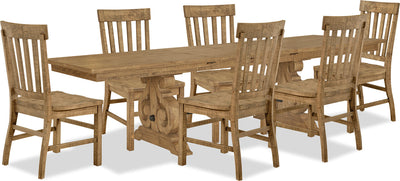 Keswick 7-Piece Dining Package - Traditional style Dining Room Set in Weathered Barley Pine