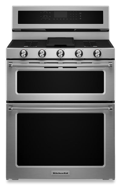 "KitchenAid 30"" Gas Double Oven Convection Range - KFGD500ESS