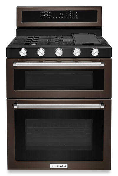 "KitchenAid 30"" Gas Double Oven Convection Range - KFGD500EBS"