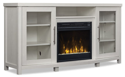 Kiara TV Stand with Firebox  - {Contemporary} style TV Stand with Fireplace in White