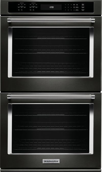 "KitchenAid 27"" Double Wall Oven with Even-Heat™ True Convection - White - Double Wall Oven in Black Stainless Steel"