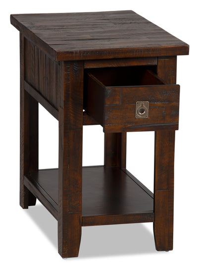 Kona Grove Chairside Table - Rustic style End Table in Dark Brown Wood
