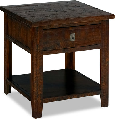 Kona Grove End Table - Rustic style End Table in Dark Brown Wood