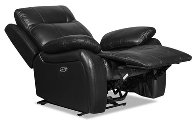 Kora Genuine Leather Power Recliner - Black - {Contemporary} style Chair in Black {Plywood}, {Solid Woods}