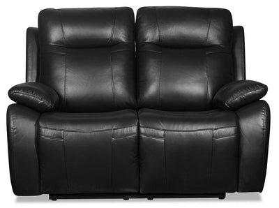 Kora Genuine Leather Power Reclining Loveseat - Black|Causeuse à inclinaison électrique Kora en cuir véritable - noire|KORABKPL