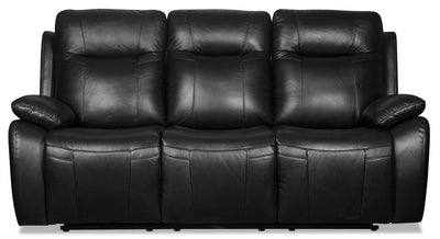 Kora Genuine Leather Power Reclining Sofa - Black - {Contemporary} style Sofa in Black {Plywood}, {Solid Woods}