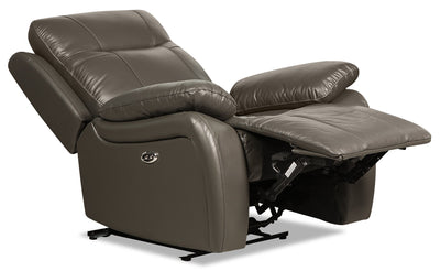 Kora Genuine Leather Power Recliner - Dark Grey|Fauteuil à inclinaison électrique Kora en cuir véritable - gris foncé|KORADGPC