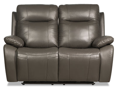 Kora Genuine Leather Power Reclining Loveseat - Dark Grey|Causeuse à inclinaison électrique Kora en cuir véritable - gris foncé|KORADGPL