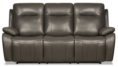 Kora Genuine Leather Power Reclining Sofa - Dark Grey - {Contemporary} style Sofa in Dark Grey {Plywood}, {Solid Woods}