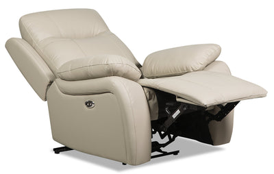Kora Genuine Leather Power Recliner - Beige|Fauteuil à inclinaison électrique Kora en cuir véritable - beige|KORAGYPC