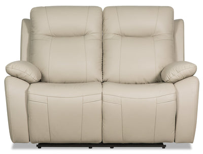 Kora Genuine Leather Power Reclining Loveseat - Beige|Causeuse à inclinaison électrique Kora en cuir véritable - beige|KORAGYPL