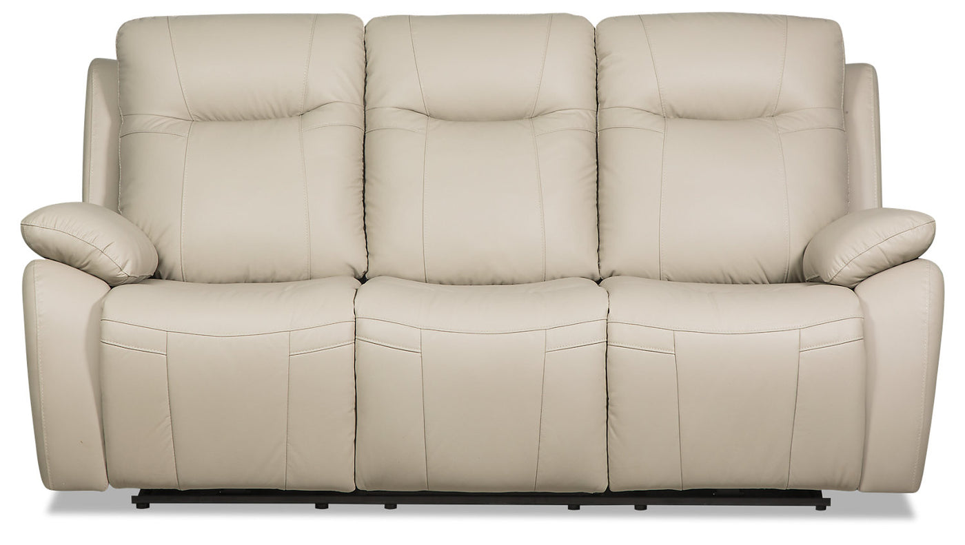 Picture of: Kora Genuine Leather Power Reclining Sofa Beige The Brick