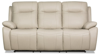 Kora Genuine Leather Power Reclining Sofa - Beige - {Contemporary} style Sofa in Beige {Plywood}, {Solid Woods}