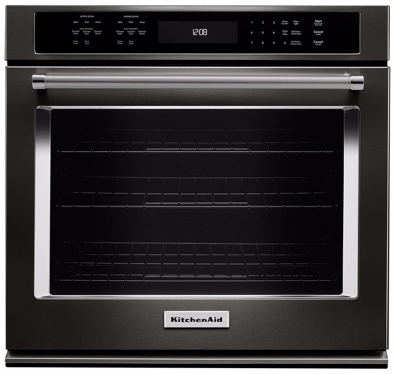 KitchenAid 4.3 Cu. Ft. Single Wall Oven with Even-Heat™ True Convection - KOSE507EBS - Electric Wall Oven in Black Stainless Steel