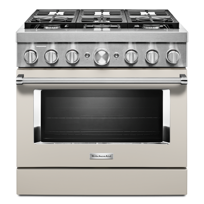 KitchenAid 36'' Smart Commercial-Style Gas Range - KFGC506JMH - Gas Range in Matte Milkshake