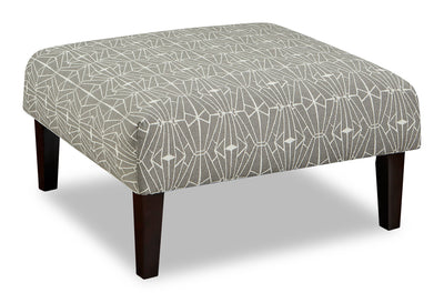 Kylie Linen-Look Fabric Accent Ottoman - Charcoal Emblem