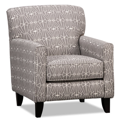 Kylie Linen-Look Fabric Accent Chair - Charcoal Emblem