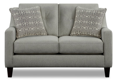 Kylie Linen-Look Fabric Loveseat - Zeus Grey