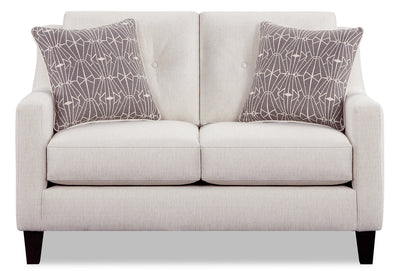 Kylie Linen-Look Fabric Loveseat - Zeus Pearl