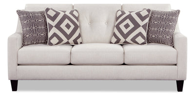 Kylie Linen-Look Fabric Sofa - Zeus Pearl - {Contemporary} style Sofa in Zeus Pearl {Engineered Wood}, {Solid Hardwoods}