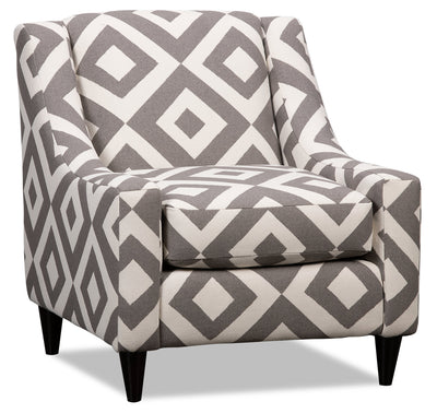 Kylie Linen-Look Fabric Accent Chair - Charcoal Square|Fauteuil d'appoint Kylie en tissu d'apparence lin - anthracite carré|KYLISQAC
