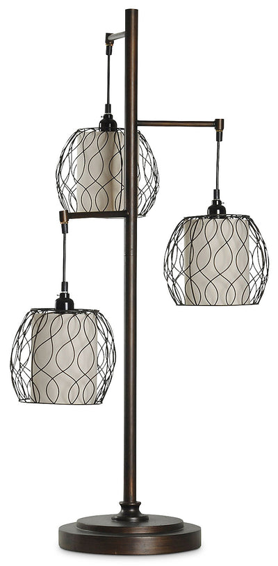 Hanging Triple-Cage Table Lamp|Lampe de table à 3 abat-jours suspendus de style cage|L37159TL