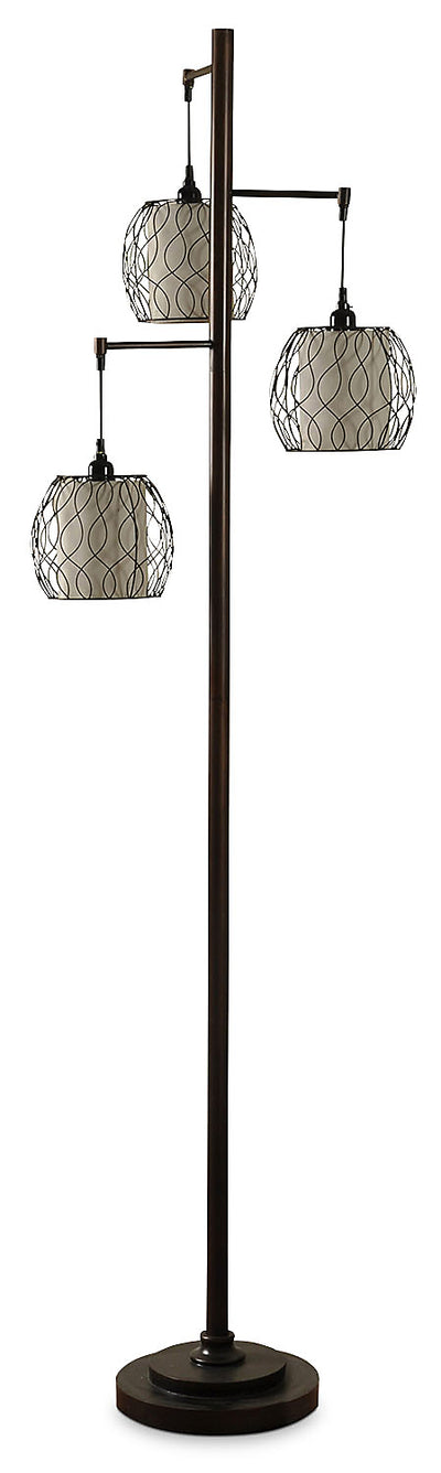 Hanging Triple-Cage Floor Lamp|Lampe de table à 3 abat-jours suspendus de style cage|L72385FL