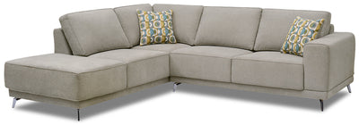 Lara 2-Piece Chenille Left-Facing Sectional - Popstitch Dove|Sofa sectionnel de gauche Lara 2 pièces en chenille - gris tourterelle couture saillante|LARADLS2