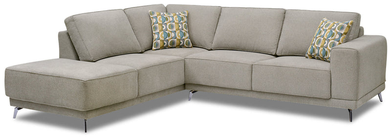 Lara 2-Piece Chenille Left-Facing Sectional - Popstitch Dove|Sofa sectionnel de gauche Lara 2 pièces en chenille - gris tourterelle couture saillante
