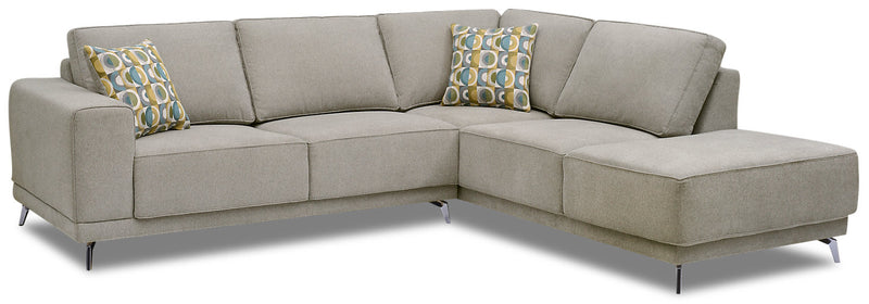 Lara 2-Piece Chenille Right-Facing Sectional - Popstitch Dove|Sofa sectionnel de droite Lara 2 pièces en chenille - gris tourterelle couture saillante|LARADRS2